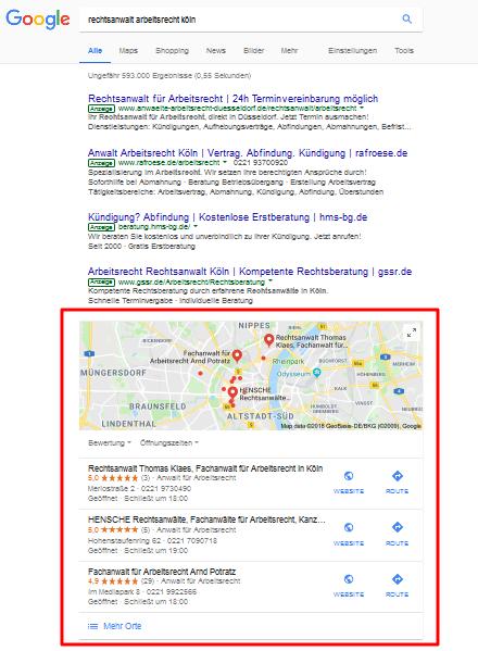 Der erste Schritt ist ein Eintrag bei Google My Business